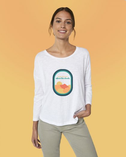 Adventure Starts 100% Women's Organic 3/4 sleeves shirt Orrojo White