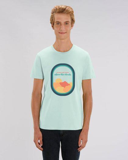 Adventure Starts 100% Organic Man T-shirt Orrojo Caribbean Blue