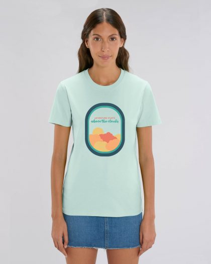 Adventure Starts 100% Organic Woman T-shirt Orrojo Caribbean Blue