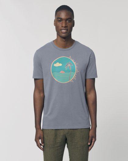 palm tree organic cotton tshirt man orrojo grey