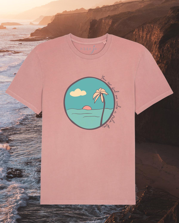 palm tree organic cotton tshirt orrojo canyon pink