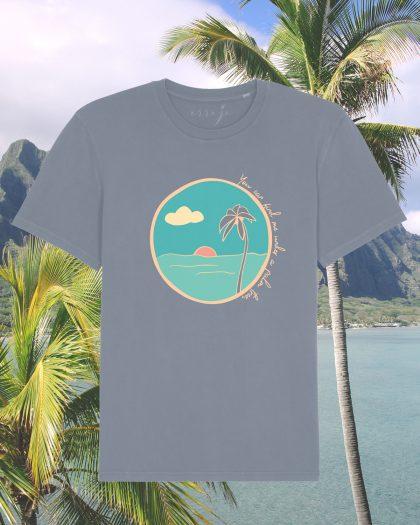 palm tree organic cotton tshirt orrojo grey