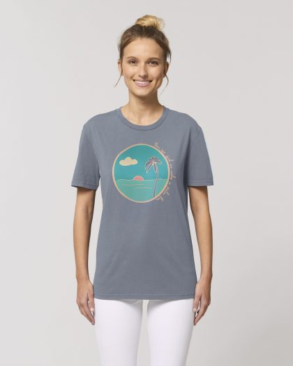 palm tree organic cotton tshirt woman orrojo grey
