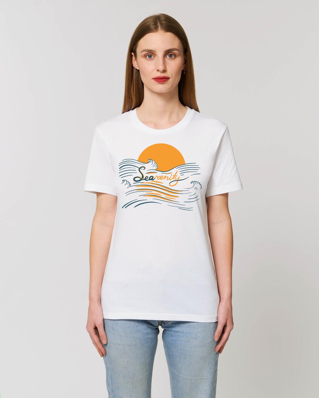 searenity organic cotton tshirt unisex orrojo white