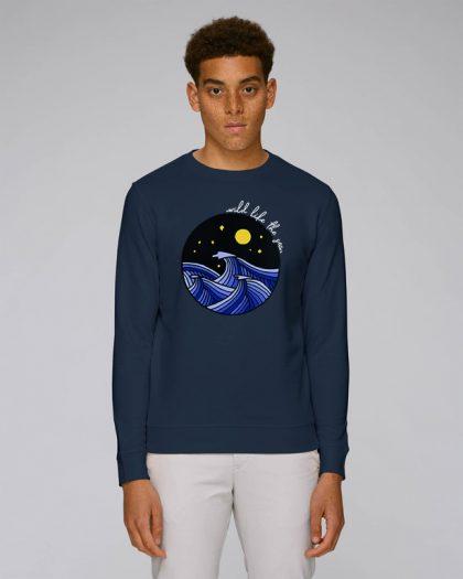 wild like the sea organic cotton sweatshirt man orrojo