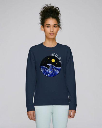 wild like the sea organic cotton sweatshirt woman orrojo